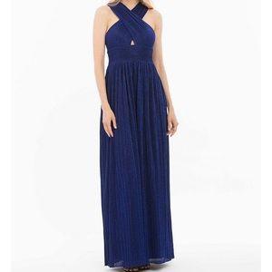 Nicole Miller Pleated Metallic Halter A-Line Gown